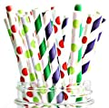 Paper Straws Of The Very Hungry Caterpillar Style By A Charming Galore - Set Of 50 Disposable Straws - Biodegradable & Eco Friendly - Wide Variety Of Colors & Patterns - Best Party Decoration Supplies