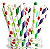 Paper Straws Of The Very Hungry Caterpillar Style By A Charming Galore – Set Of 50 Disposable Straws – Biodegradable & Eco Friendly – Wide Variety Of Colors & Patterns – Best Party Decoration Supplies