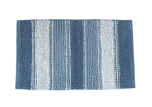"""Chardin home Newport Soft and Durable Tissue/Chenille Rug, Cotton Poly Blended Bathroom Mat or Accent Rug, 20"""" W x 32"""" L, Blue/White"""