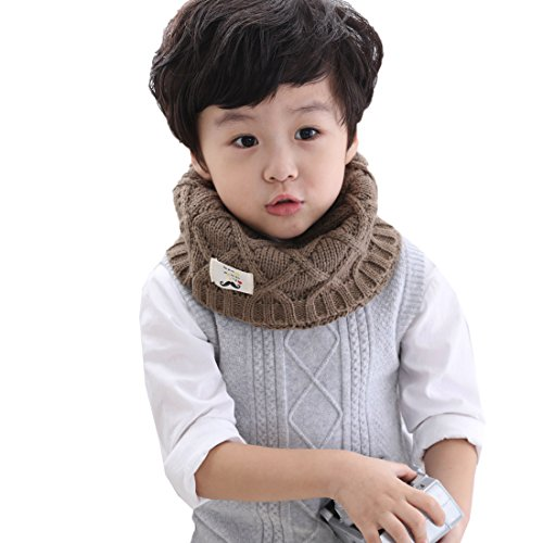 discount Khaki Wool Yarn Circle Loop Baby Girl Boy Scarf Thicken Warm Scarf Korean Style Kids Knitted Scarves Winter Warm Scarf for sale