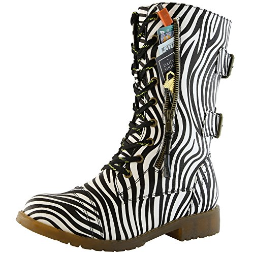 DailyShoes Women's Combat Booties Ankle Mid Calf Low Heel Lace Up Zip Pocket Buckled Bootie Stylish Comfort Round Toe Collar Shorts Knee High Exclusive Credit Card Boots Zebra,pu,13