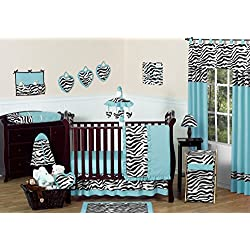 Turquoise Blue and Funky Zebra Animal Print Baby Girl Bedding 11pc Crib Set without bumper