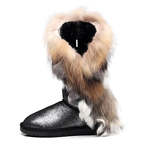 Dressy Lining resistant Black Stylish Warm Glitter Winter Boots High Women End rismart Half Glitter Suede With Snow Custom Boots Wool Water XSU7xzxqw