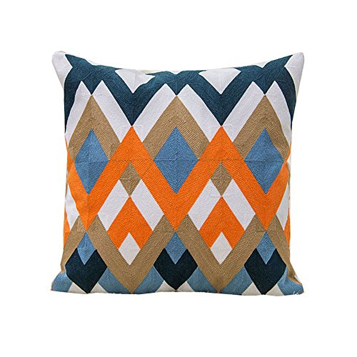 Euro Style Set Tv Stand (Monkeysell European Style Pillow Cover Geometric Patterns Wool Embroidered Throw Pillow Case Cotton Embroidery Decorative Cushion Cover 18 x18