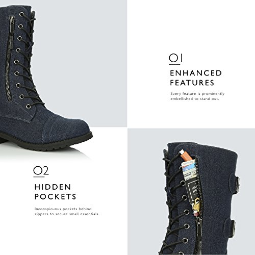 Blue Pocket Boots Combat Money Calf Card Mid Lace Knife DailyShoes up Women's High Credit Military Denim Wallet qOwxP6Z