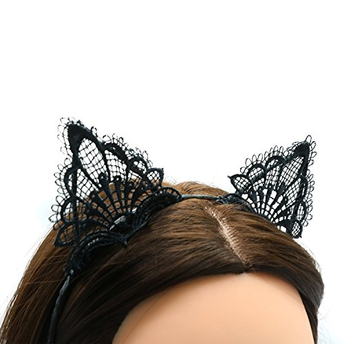 Sheva Store Black Lace Cat Ears Headband for Women and Girls Cute Cat Headband for Women and Baby Girls I Black Cat Ears Headbands | Best for Bachelorette Party, Prom (Store Cats)