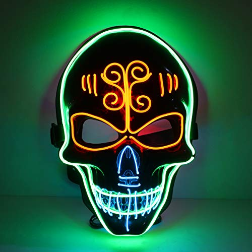 Amosfun Halloween LED Light Mask Men's Glowing Skull Mask Halloween Party Cosplay Costume Accessories Scary Death Mask