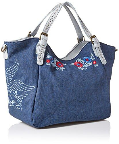 Bols Woman Denim Uni Desigual Bag Blue Rotterdam Flowers 18saxpfv TPnEaxH