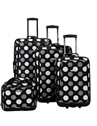 Rockland F105 Luggage Set, Black Dot, One Size, 4-Piece