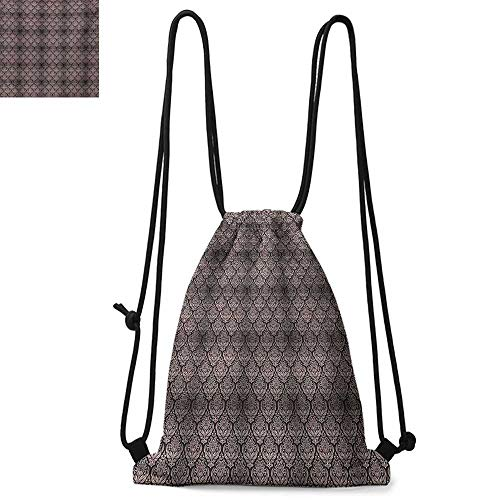 (Damask Portable drawstring backpack Ancient Byzantine Pattern with a Modern Design Traditional Tile Flower For the gym W13.8 x L17.7 Inch Beige and Charcoal Grey)