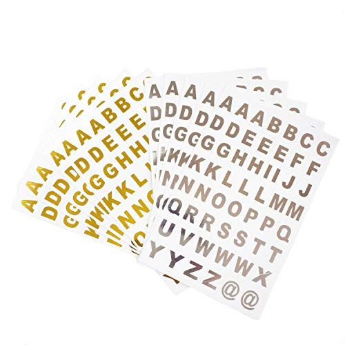 WJBB Alphabet Letter Stickers Self Adhesive Letter Stickers Scrapbooking Supplies Sticker, 10 Sheets, Gold and Sliver