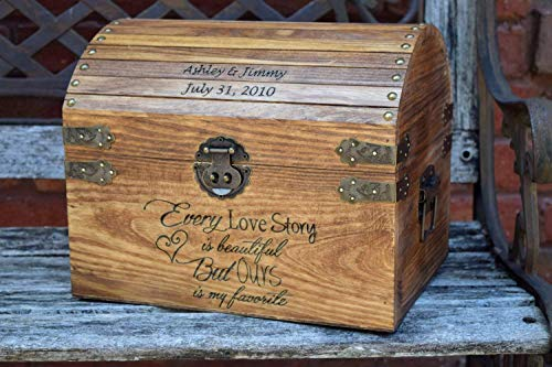 Every Love Story is Beautiful But Ours is my Favorite with Names and Date on Lid Slats - Wedding Card Box - Wedding Card Holder - Rustic Wedding Decor - Keepsake Box ()