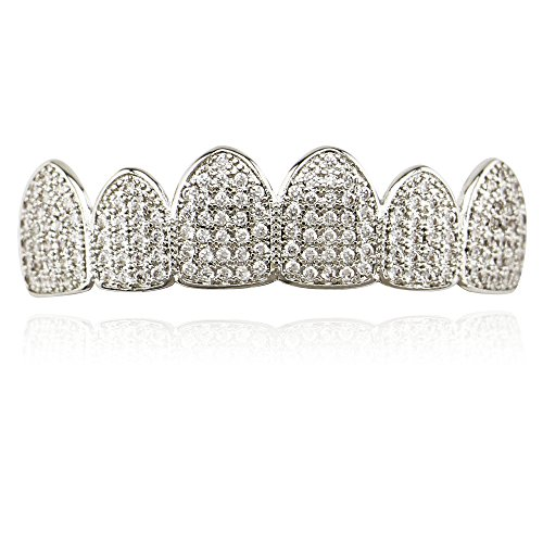 Full Grill Teeth (Lureen 14k Gold Silver Pave Full CZ Grillz 6 Top and Bottom Hip Hop Teeth Sets (Silver Top))