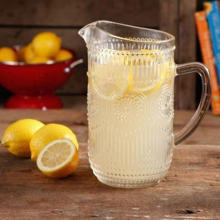 The Pioneer Woman Adeline 1.59-Liter Glass Ice Tea Water Pitcher Bar Drinkware, Clear by Home Comforts