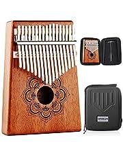 Kithouse Kalimba Thumb Piano 17 sleutels set met mandala-patroon, houten Mbira vinger piano geschenken Afrikaanse muziekinstrument voor kinderen en volwassenen beginners - inclusief Kalimba-hoesje, muziekboek, stemhamer