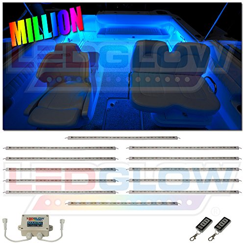 LEDGlow 12pc Million Color LED Boat Deck and Cabin Lighting Kit - 324 LEDs - Waterproof Connectors and Light Tubes - 2 Wireless Remotes (Deck Connector Kit)