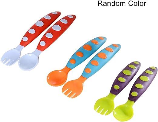 Festnight 2 Piezas de alimentación para bebés Cuchara Tenedor de Seguridad Segura para bebés Cubiertos con Estuche de Almacenamiento Transparente (Color Aleatorio): Amazon.es: Hogar