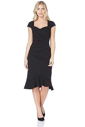 Roman Originals Womens Black Ruffle Hem Shift Dress Sizes 10 20