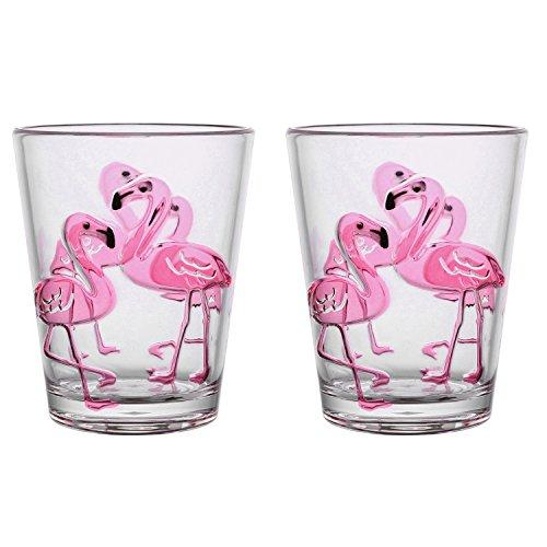 Gourmet Art 2-Piece Flamingo Acrylic 16oz DOF Tumbler ()