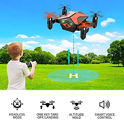 WiFi FPV Drone with 720P HD Camera, RC Drones for Beginners with Gravity Control/Voice Control/Trajectory Flight/App Control/Altitude Hold/Headless Mode/3D Flips