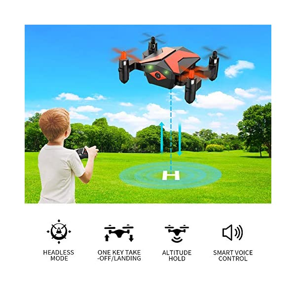 Mini Drones with Camera - Portable Foldable FPV Drone with Camera for Kids  & Beginners, Mini RC Drones w/Gravity Control/Voice Control/Trajectory