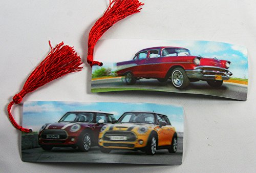 2 Bookmarks - 3D Lenticular - AUTOS - Vintage Chevy and Mini Coopers with Tassles from 3Dstereo Bookmarks