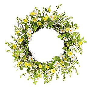 Puleo International 30 in. Artificial Daisy and Dogwood Wreath, Green 17