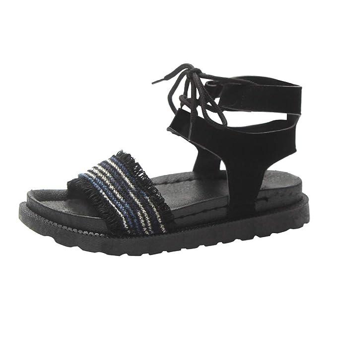 57c15d03cb049 Amazon.com: Memela Clearance sale Women Sandals Flats Ankle Strap ...