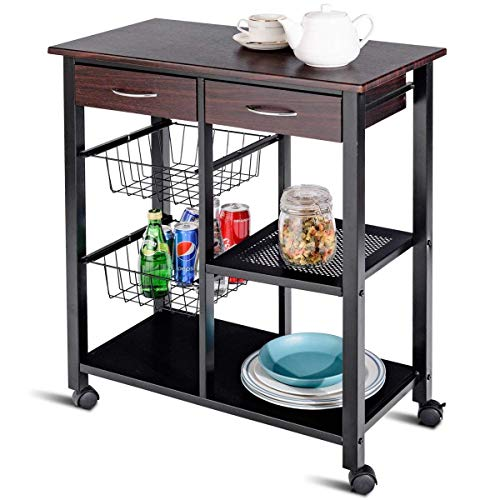 Costzon Rolling Kitchen Cart, Storage Trolley w/ 2 Drawers Baskets Stand Countertop Table ()
