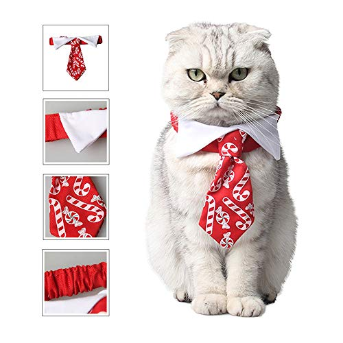HBK Christmas Pet Tie Dog Accessories Candy Print Bow Tie Collar for Cats Funny Cat Costume Xmas New Year Pet Products Supplies -