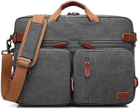 CoolBELL Convertible Backpack Messenger Bag Shoulder Bag Laptop Case Handbag Business Briefcase Multi-Functional Travel Rucksack Fits 17.3 Inch Laptop for Men Women Canvas Dark Grey