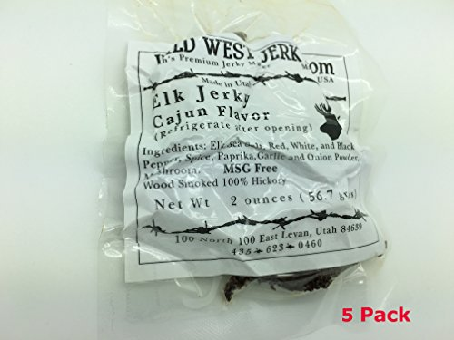 Smoked Elk - #1 BEST Premium 100% Natural Grass Fed Hand Stripped 2 OZ. Thick Cut Delicious Tasty Bold Flavor Elk Jerky from Utah USA - Wood smoked With Hickory Wood by Wild West Jerky (Cajun 5 Pack)