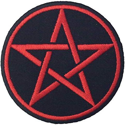 Goth Pagan Symbolsペンタグラム刺繍入りアイロン貼り付け/縫い付けワッペン