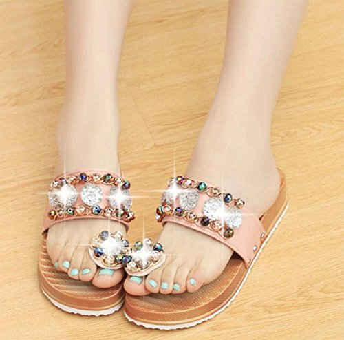 Diamant wulstige Klippzehe weiblichen Pantoffeln Sandalen weiblichen Sommer der beiläufigen Frauen Sandalen und Pantoffeln Frauen Hausschuhe Pink