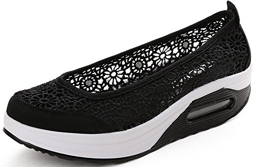 Odema Dames Crochet Platform Shape Ups Toning Schoenen Slip-on Walking Sneakers Zwart