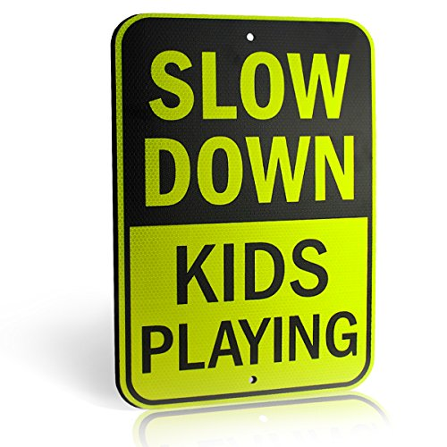 Slow Down Kids Playing Signs | Children at Play Yard Sign | Diamond Grade Ultra Reflective Yellow for Street Safety | Durable Heavy Duty Dibond Aluminum with | 18