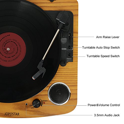 Bluetooth Turntable,JOPOSTAR Vinly Record Player Built-in Dual Stereo  Speakers, LP 3-Speed Belt Driven, Aux Input & RCA Output, Natural Wood