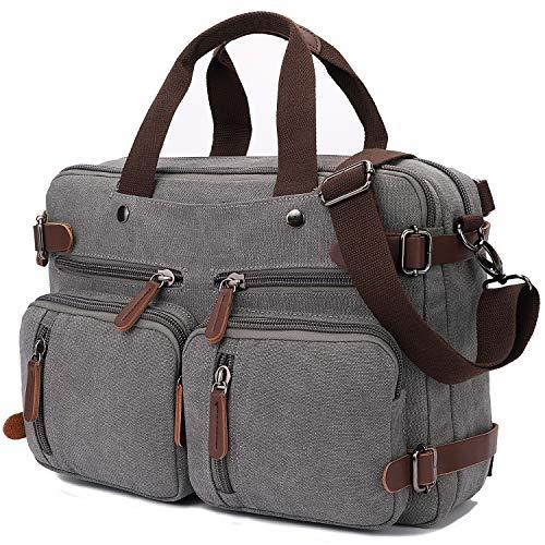 Convertible Laptop Backpack 17.3 Inch Messenger Bag for Men/Women (Grey)