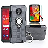 Moto Z3 Play Case with HD Screen Protector, I VIKKLY Dual Layer Shockproof Case with 360 Degree Rotating Ring Kickstand Fit Magnetic Car Mount for Motorola Moto Z3 Play/Z Play (3nd Gen 2018) (Grey)