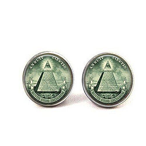 stap All Seeing Eye - Illuminati Dollar Bill - Eye of Providence - Pyramid - Dollar Bill Cufflinks