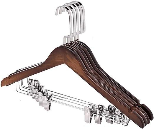 Perchas estándar Paquete de 10 perchas de madera Perchas con clips ...