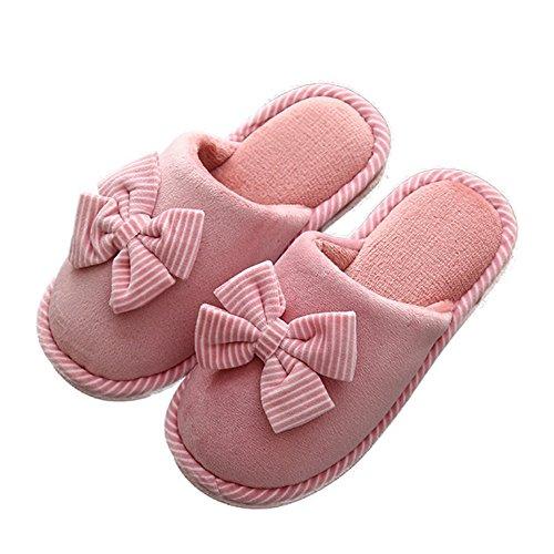 Ciabatte Pantofole Da Donna Da Donna Bowknot Indoor Outdoor Foderato In Pelliccia Scarpe Calde Rosa