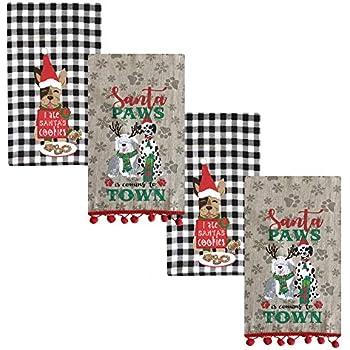 Newbridge Jolly Christmas Puppies Fabric Holiday Dish Towel Set - Santa Paws and Santa's Cookies - 4 Piece Kitchen Towel Set
