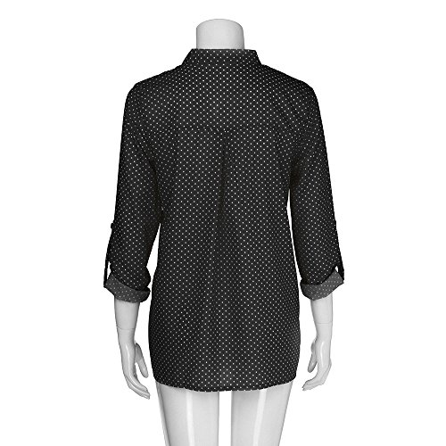 Longues Femmes Longues Tops Print Chemise nbsp;Polka Longue V Wave Robe Manches Button V Manches Blouse Neck ALIKEEY Vrac Plus Printing Chemisier Neck Point Size Noir en xU1vqnPw