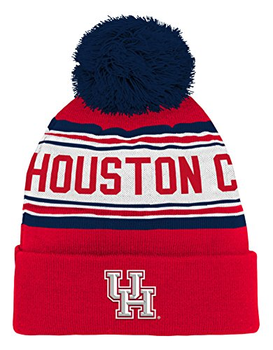 NCAA by Outerstuff NCAA Houston Cougars Kids & Youth Boys Jacquard Cuffed Knit Hat w/ Pom, Red, Kids One Size]()