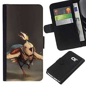 Protector de cuero de la PU de la cubierta del estilo de la carpeta del tirón BY RAYDREAMMM - Samsung Galaxy S6 EDGE - Batalla de Aves