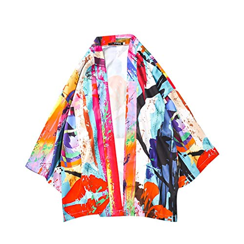 MIS1950s Men's Kimono Japanese Printed Kimono Cardigan Jackets Flying Crane Open Front Coat Kimono Jackets