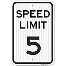 """Speed Limit 5 MPH Sign, Federal 12"""" X 18"""" 3M Prismatic Engineer Grade Reflective Aluminum, For Indoor or Outdoor Use - Made in the USA - By SIGO SIGNS"""