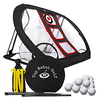Golf Chipping Net with 12 Foam Practice Balls - Collapsible Golfing Target for Indoor/Outdoor Use - Portable Training Aid to Practice in Backyard or Office | Improve Accuracy and Challenge Friends