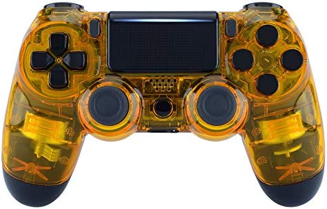 Amazon Com Extremerate Transparent Crystal Clear Yellow Front Housing Shell Faceplate Cover For Playstation 4 Ps4 Slim Ps4 Pro Controller Cuh Zct2 Jdm 040 Jdm 050 Jdm 055 Controller Not Included Computers Accessories